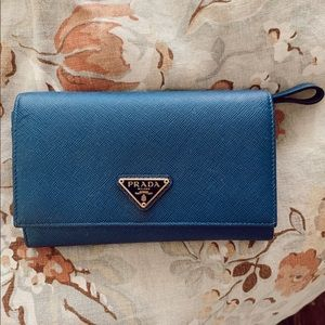 Blue Prada Saffiano Flap Wallet